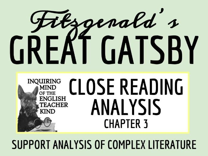 The Great Gatsby Close Reading Worksheet - Chapter 3