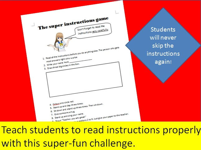 The Super Instructions Game - Students will never again skip your instructions!