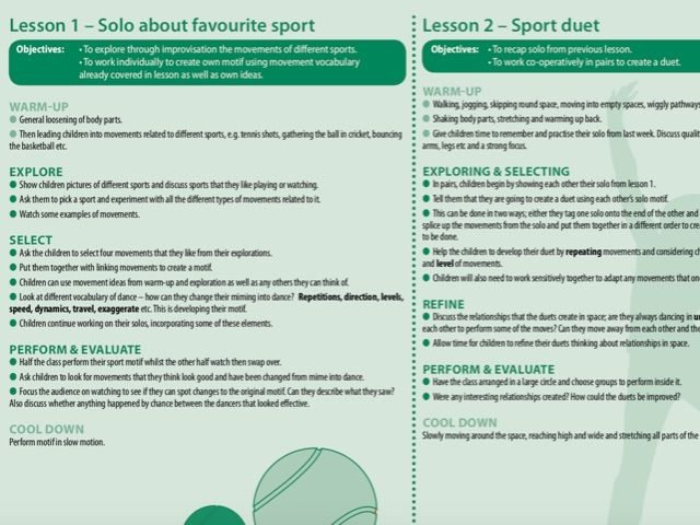 Year 6 Unit of Dance Planning - Sport