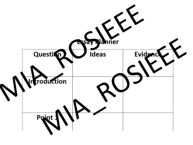 Free GCSE English Lit Essay Planner