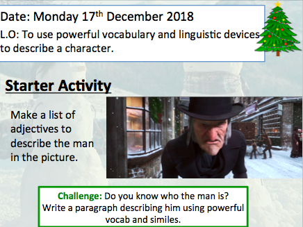2 x Christmas Descriptive writing lessons. Using powerful vocabulary and linguistic devices.