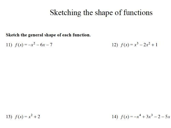 GCSE Maths : Sketching the Shape of Functions Revision