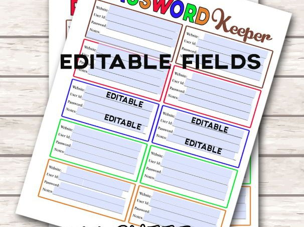 Password Keeper Printable for students. Password Password Log, Letter Size PDF