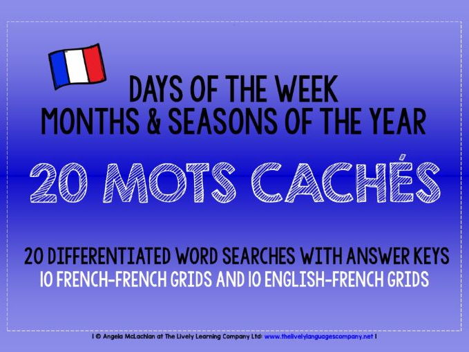 PRIMARY FRENCH - 20 DIFFERENTIATED WORD SEARCHES - DAYS, MONTHS, SEASONS