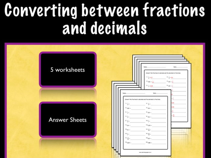 Fraction Decimal And Decimal Fraction Conversion Ks2 Worksheet By