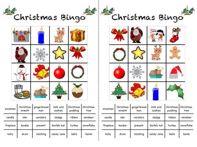 Christmas Themed Picture Bingo