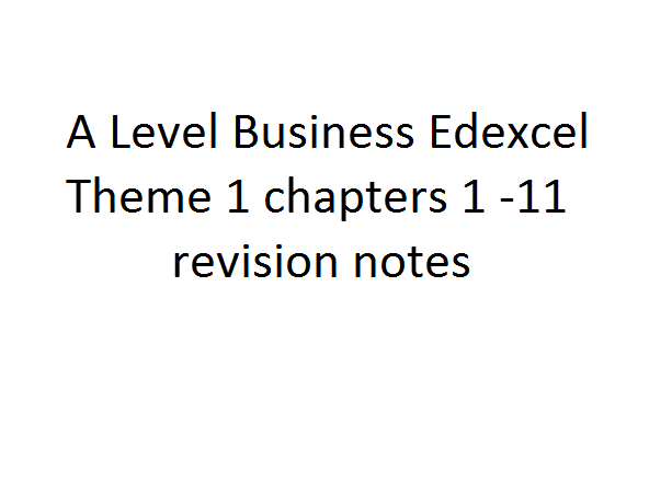 A Level Business Edexcel - Theme 1 notes chapters 1 -11