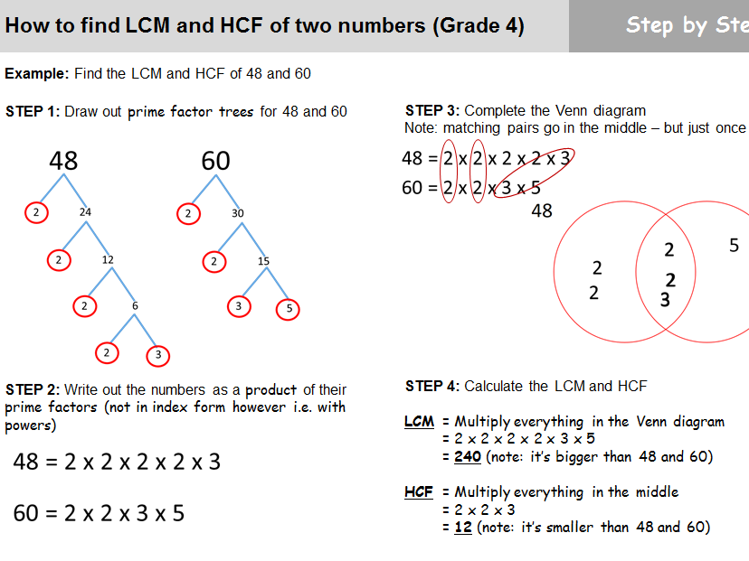 Finding LCM and HCF of two numbers (Grade 4) - Guided lesson worksheet