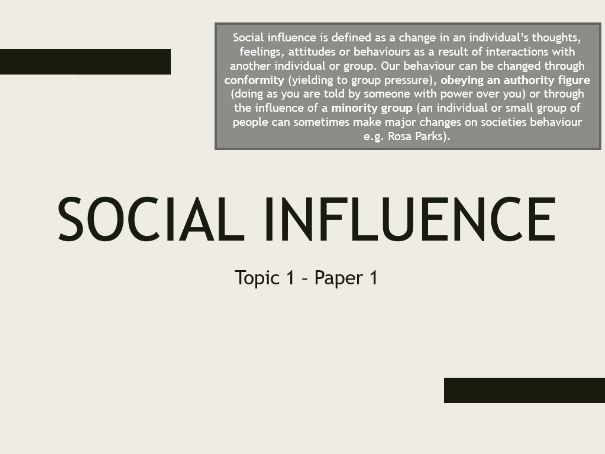 AQA A Level Psychology - Paper 1, Topic 1: Social Influence