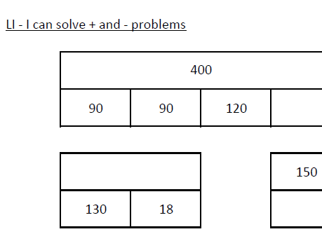 Year 3 Bar Model worksheets
