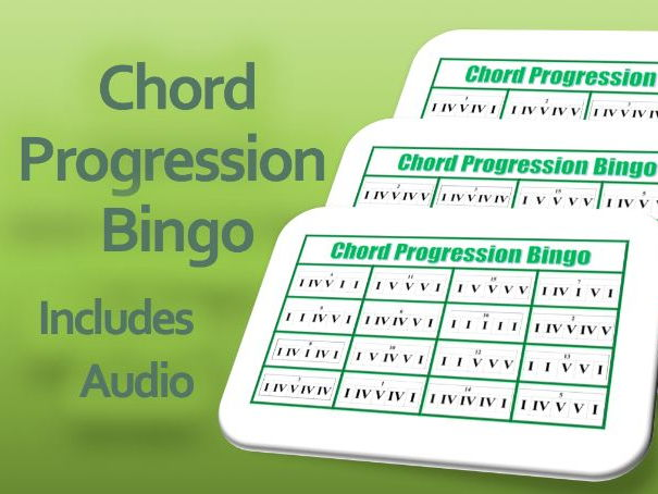 Chord Progression Bingo Cards including Audio for Music Lessons