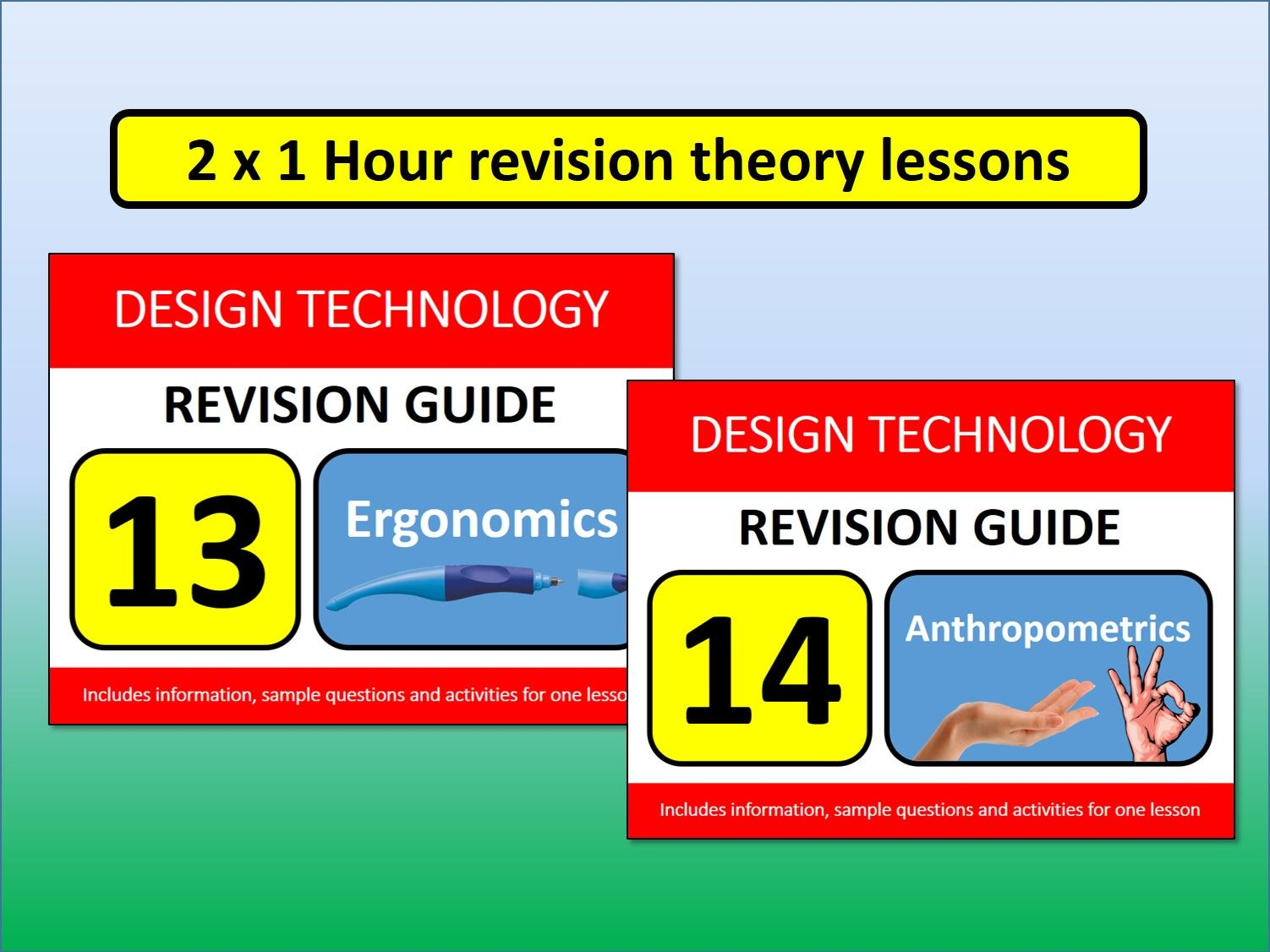 2 x 1 hour GCSE Design Resistant Materials Revision Lessons Ergonomics & Anthropometrics