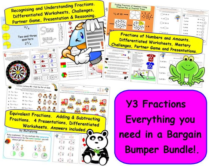 Y3 Fractions. Equivalents, Adding & Subtracting. 4 Presentations ...