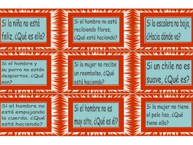 Antonyms Spanish Card Game