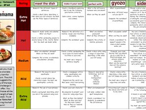 Spelling Punctuation and Grammar Takeaway Homework Menu