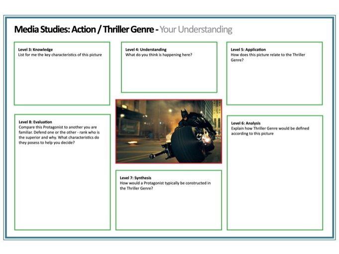 Thriller / Action Film Scaffolding Task Sheet (Blooms Approach - Differentiation) PDF A4