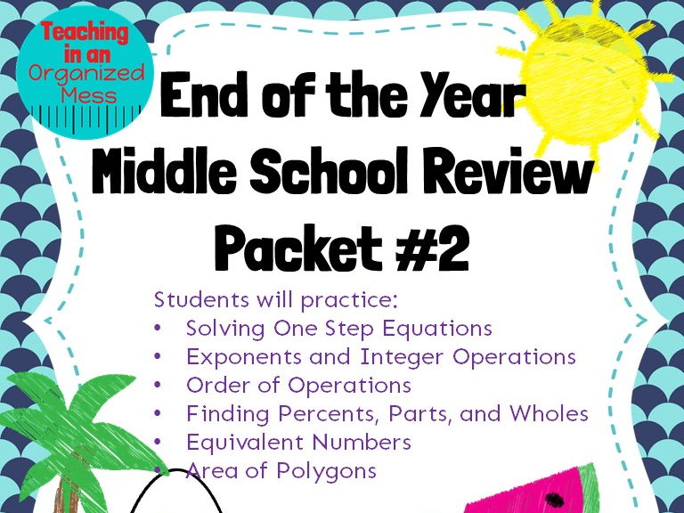 Middle School Math Review End of the Year--NO PREP Packet