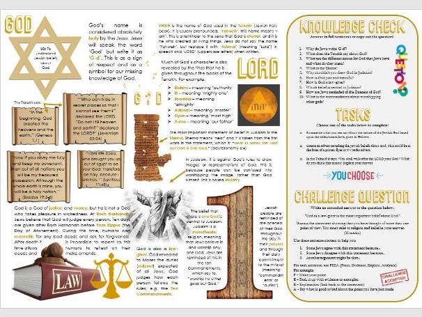 Judaism: Jewish Beliefs about God Task Mat