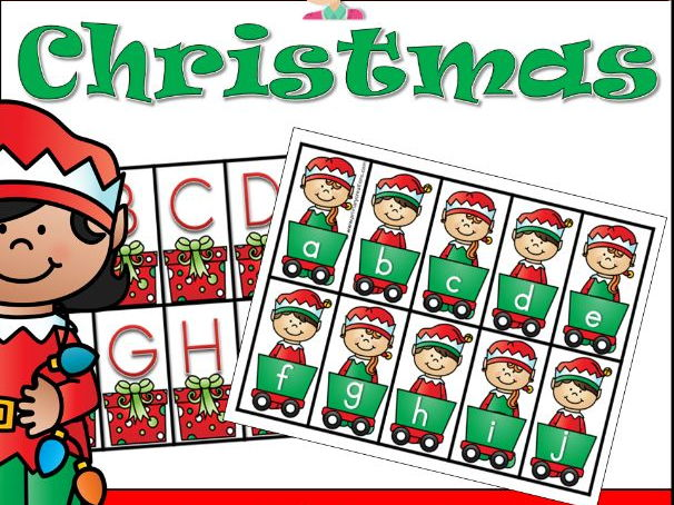 Christmas Alphabet Match and Sequencing Cards PreK (USA Edition)