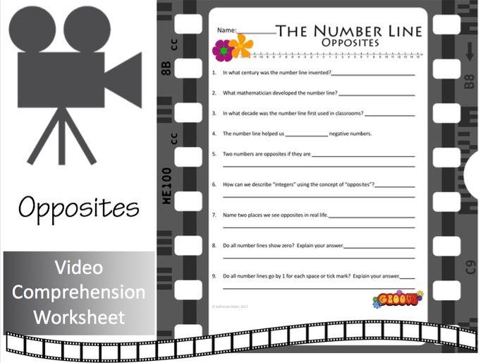 The Number Line (Part 1):  Opposites  (Video Comprehension Worksheet)