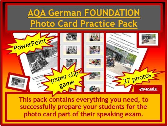 AQA German GCSE photo card FOUNDATION