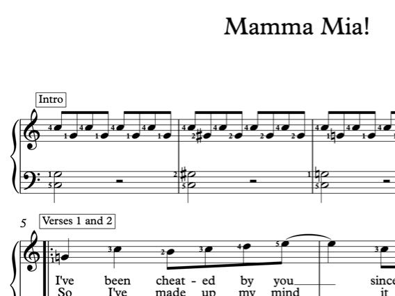 Mamma Mia! Beginner's Piano Arrangement with Lyrics and Finger Numbers