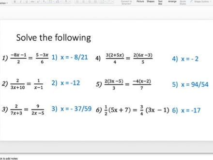Solving Equations with Algebraic Fractions Lesson Series