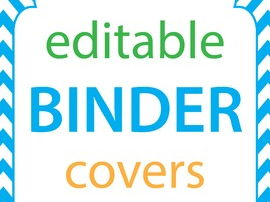 Binder Covers Editable, Chevron Border, Editable Binder Covers and Spines