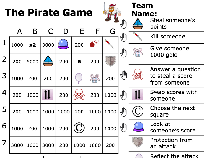 Pirate Game, 15 Different Pages
