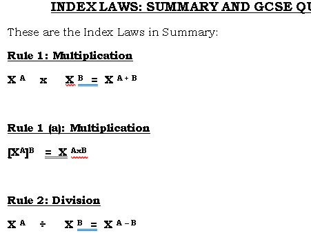 Index Laws Summary and Questions GCSE (9-1)