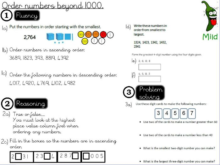 Place value - Order numbers beyond 1000