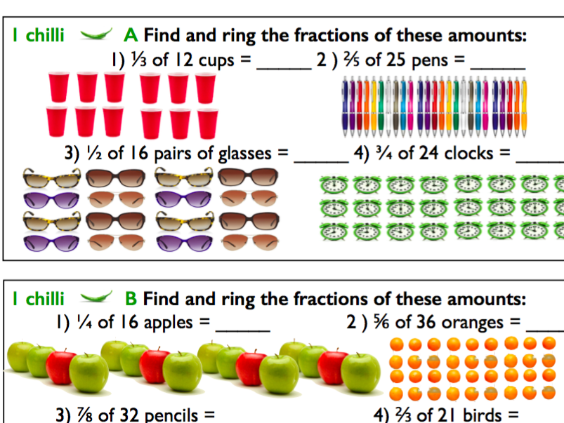 Fractions of Amounts / Fractions of a Discreet Set of Objects