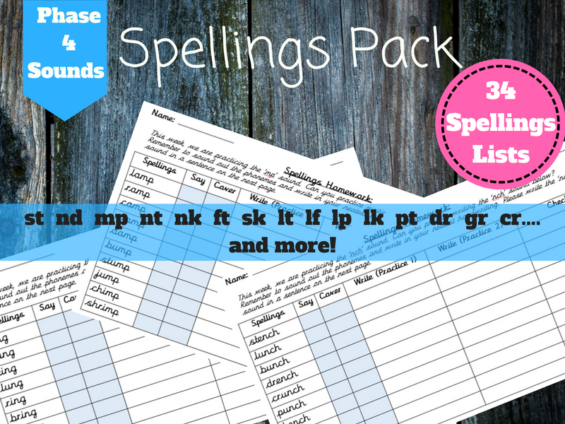 Spellings Pack - Phase 4 sounds