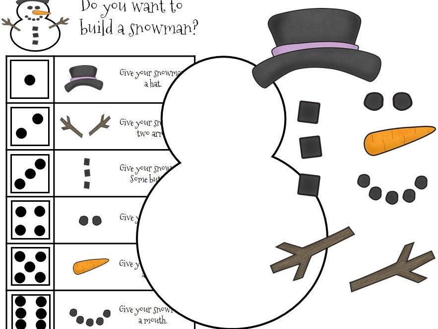 Build-a-Snowman Christmas Dice Game