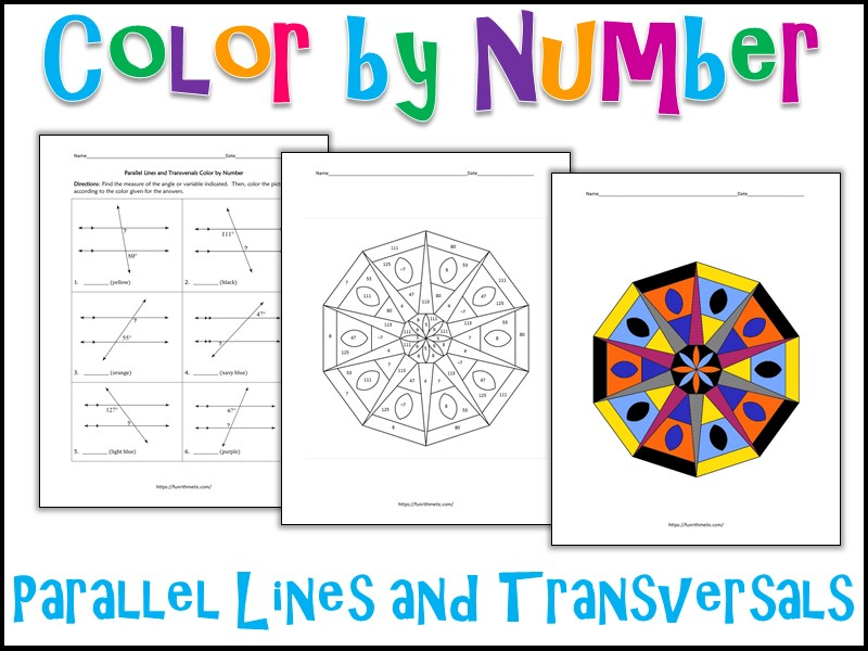Parallel Lines and Transversals Color by Number