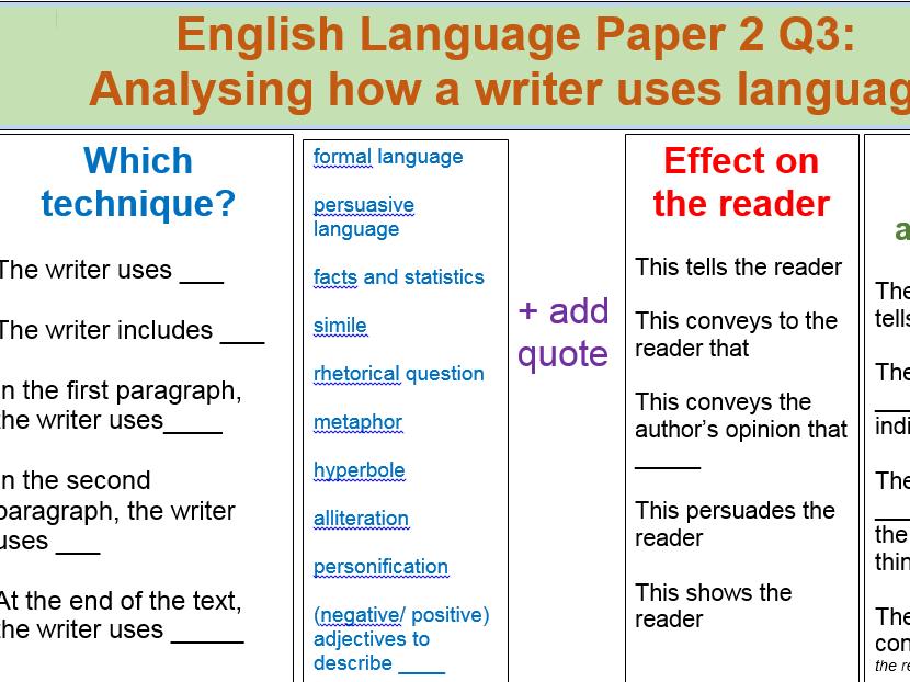 Sentence Starters AQA GCSE English Language Paper 1 & 2 Writing frames word-mats vocabulary