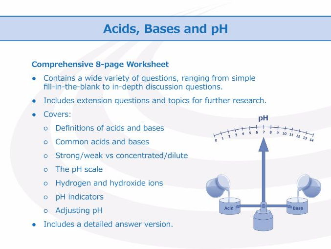 Acids, Bases and pH [Worksheet] by GoodScienceWorksheets - Teaching ...