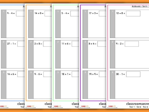 Arithmetic Tests for Year 1 Summer Term 2