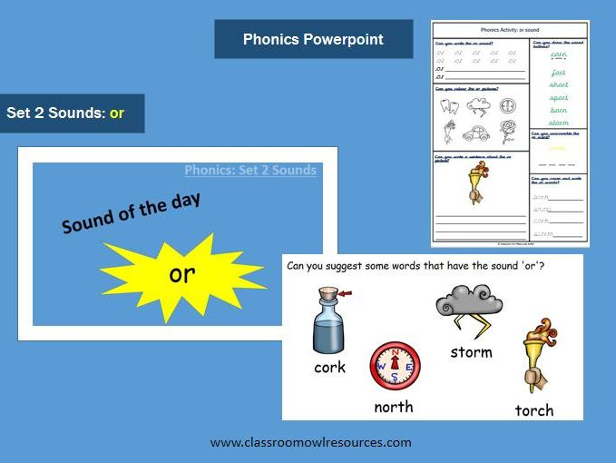 Phonics Powerpoint & Worksheet - or sound