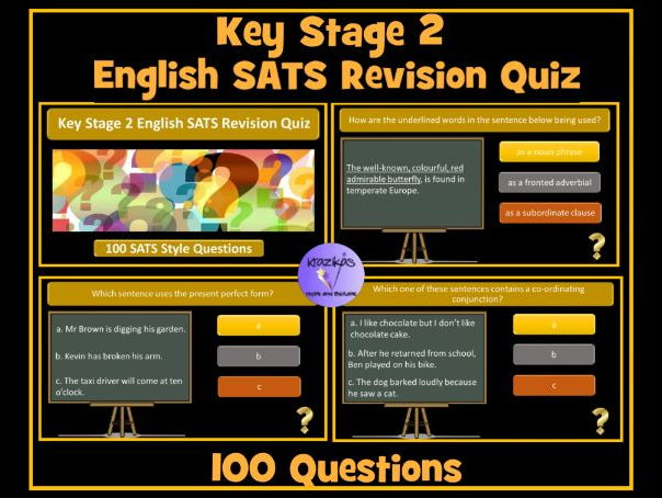 Key Stage 2 English (SPaG) SATS Revision PowerPoint Quiz / Revision  Resource - 100 questions