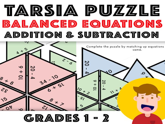Balance The Equation Tarsia Puzzle: Addition and Subtraction - Years 2 - 3