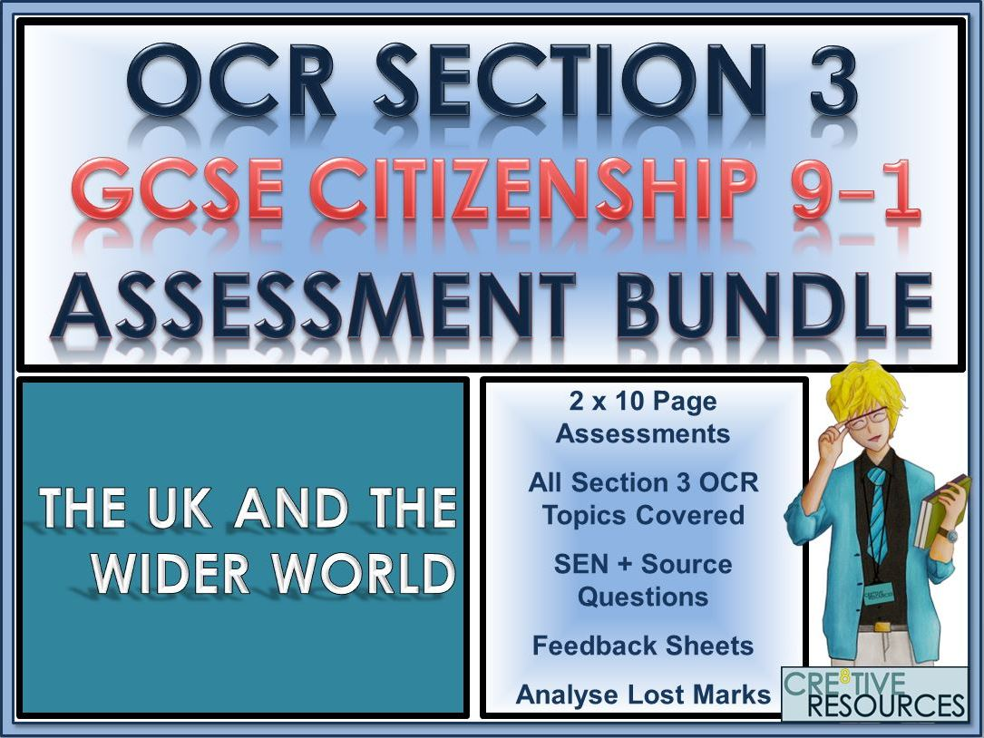 9-1 GCSE Citizenship OCR Section 3 Exam Assessment Bundle