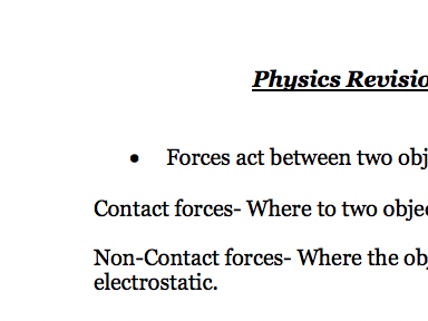 Non Contact and Contact Forces - Notes Physics AQA Combined Science GCSE