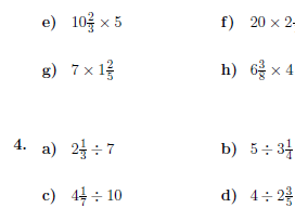 4 worksheets on operations between whole numbers, fractions and mixed numbers (with solutions)