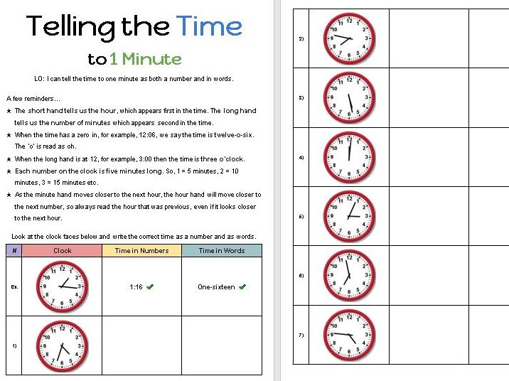Telling the Time to 1 Minute [Designed for Online]