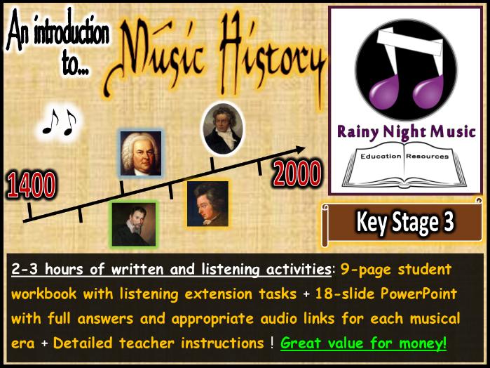 Musical Eras Activities History of Music