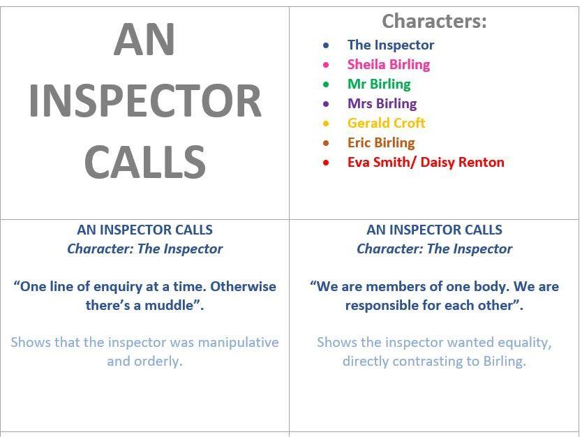 GCSE An Inspector Calls: Character Revision