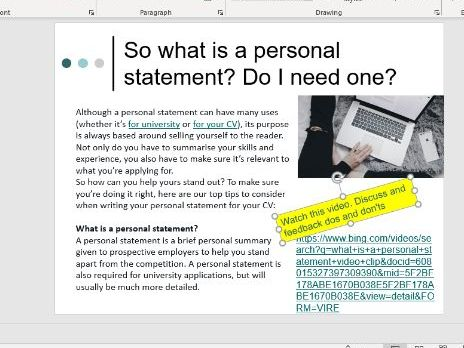 To be able to write a personal statement