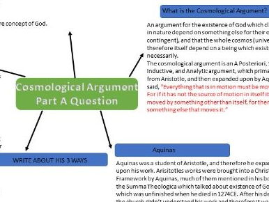 A2 Philosophy Cosmological Argument A&B exam question key information. ALL EXAM BOARDS.