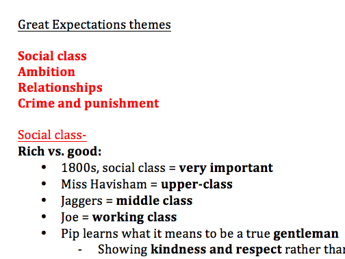 Extensive GREAT EXPECTATIONS themes document